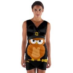 Halloween Orange Witch Owl Wrap Front Bodycon Dress