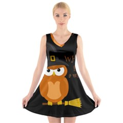 Halloween Orange Witch Owl V Neck Sleeveless Skater Dress