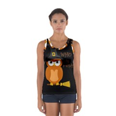 Halloween Orange Witch Owl Sport Tank Top