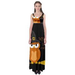 Halloween Orange Witch Owl Empire Waist Maxi Dress