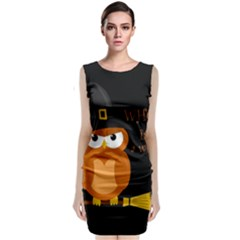 Halloween Orange Witch Owl Classic Sleeveless Midi Dress