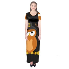 Halloween Orange Witch Owl Short Sleeve Maxi Dress