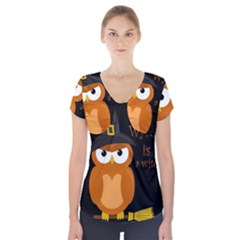 Halloween Orange Witch Owl Short Sleeve Front Detail Top