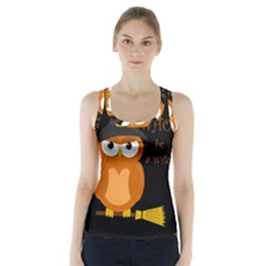 Halloween Orange Witch Owl Racer Back Sports Top
