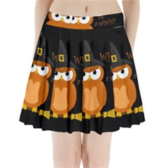Halloween Orange Witch Owl Pleated Mini Skirt