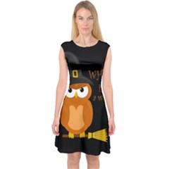 Halloween Orange Witch Owl Capsleeve Midi Dress