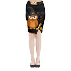 Halloween Orange Witch Owl Midi Wrap Pencil Skirt