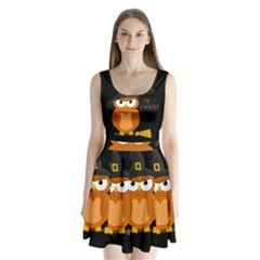 Halloween Orange Witch Owl Split Back Mini Dress