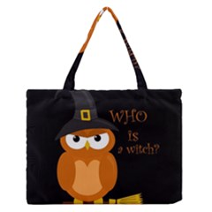 Halloween Orange Witch Owl Zipper Medium Tote Bag