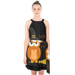 Halloween Orange Witch Owl Halter Collar Waist Tie Chiffon Dress