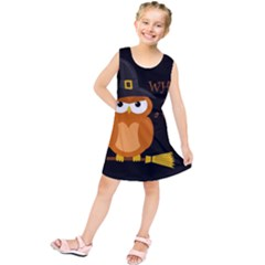 Halloween Orange Witch Owl Kids  Tunic Dress