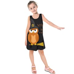 Halloween Orange Witch Owl Kids  Sleeveless Dress