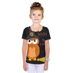 Halloween Orange Witch Owl Kids  One Piece Tee
