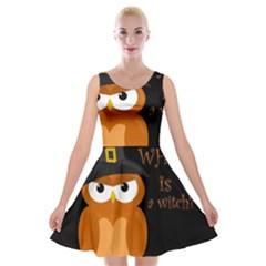 Halloween Orange Witch Owl Velvet Skater Dress