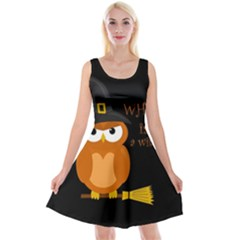 Halloween Orange Witch Owl Reversible Velvet Sleeveless Dress
