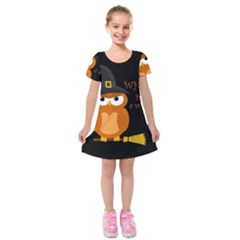 Halloween Orange Witch Owl Kids  Short Sleeve Velvet Dress