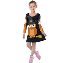 Halloween Orange Witch Owl Kids  Long Sleeve Velvet Dress
