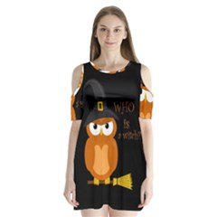 Halloween Orange Witch Owl Shoulder Cutout Velvet  One Piece