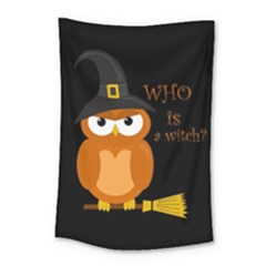 Halloween Orange Witch Owl Small Tapestry