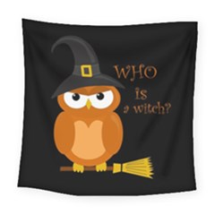 Halloween Orange Witch Owl Square Tapestry (large)