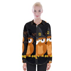 Halloween Orange Witch Owl Womens Long Sleeve Shirt
