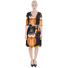 Halloween Orange Witch Owl Wrap Up Cocktail Dress