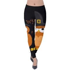 Halloween Orange Witch Owl Velvet Leggings