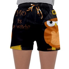Halloween Orange Witch Owl Sleepwear Shorts