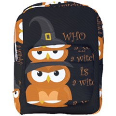 Halloween Orange Witch Owl Full Print Backpack