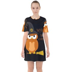 Halloween Orange Witch Owl Sixties Short Sleeve Mini Dress
