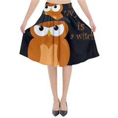 Halloween Orange Witch Owl Flared Midi Skirt