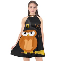 Halloween Orange Witch Owl Halter Neckline Chiffon Dress
