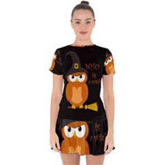 Halloween Orange Witch Owl Drop Hem Mini Chiffon Dress