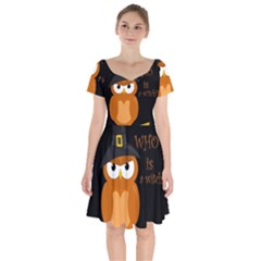 Halloween Orange Witch Owl Short Sleeve Bardot Dress