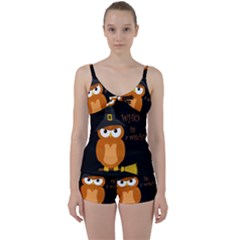 Halloween Orange Witch Owl Tie Front Two Piece Tankini