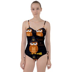Halloween Orange Witch Owl Sweetheart Tankini Set