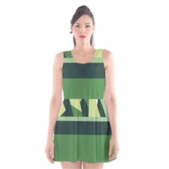 Cvar0098 Abstract Jungle Green Brown Art Scoop Neck Skater Dress