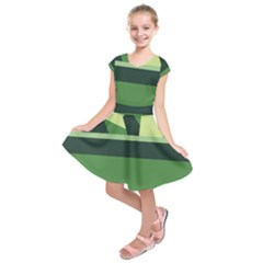 Cvar0098 Abstract Jungle Green Brown Art Kids  Short Sleeve Dress