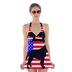 American Water Spaniel Silhouette Usa Flag Halter Swimsuit Dress