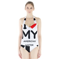 I Love My American Water Spaniel Halter Swimsuit