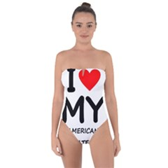 I Love My American Water Spaniel Tie Back One Piece Swimsuit