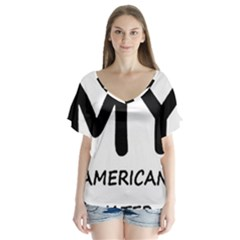I Love My American Water Spaniel V Neck Flutter Sleeve Top