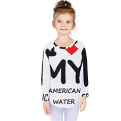 I Love My American Water Spaniel Kids  Long Sleeve Tee