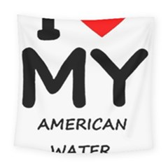 I Love My American Water Spaniel Square Tapestry (large)