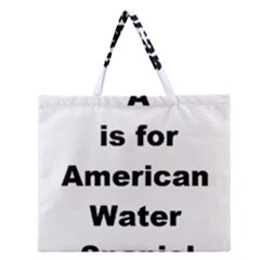 A Is For American Water Spaniel Zipper Large Tote Bag