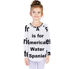 A Is For American Water Spaniel Kids  Long Sleeve Tee