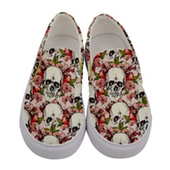 Pink Roses With Skulls Women s Canvas Slip Ons