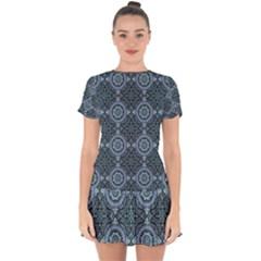 Oriental Pattern Drop Hem Mini Chiffon Dress