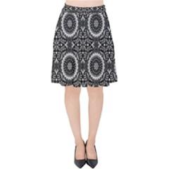 Oriental Pattern Velvet High Waist Skirt
