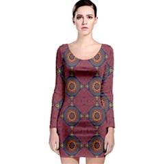 Oriental Pattern Long Sleeve Bodycon Dress